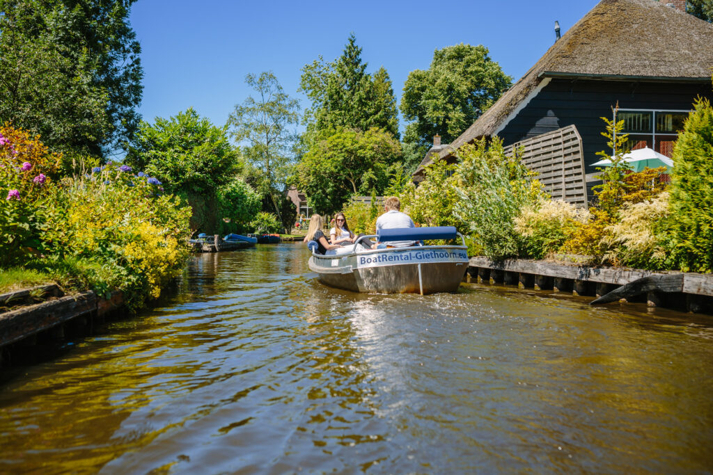 on a boat in Giethoorn